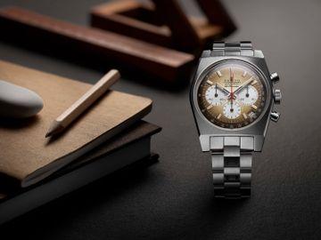 腕錶配有兩款與1969年作品同款的錶鏈及錶帶供選擇,「Ladder」精鋼錶鏈是早期El Primero腕錶標誌性Gay Freres錶鏈的現代版本,滲出一抹的復古格調。($66,500)